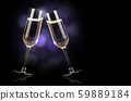 champagne glasses with splash 59889184