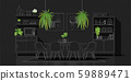 Interior design with modern dining room in white line sketch on black background 59889471