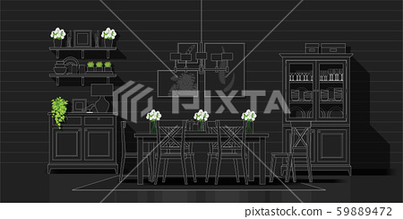 Interior design with modern dining room in white line sketch on black background 59889472