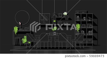 Interior design with modern dining room in white line sketch on black background 59889473