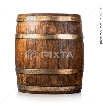 Wooden cask isolated 59889498