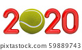 Tennis 2020 with tennis ball, concept 59889743
