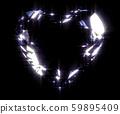 Sapphire heart gem contour in the dark - 3D Illustration 59895409