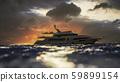 Luxury Yacht Crosses horizon during Sunset - 3D Illustration 59899154
