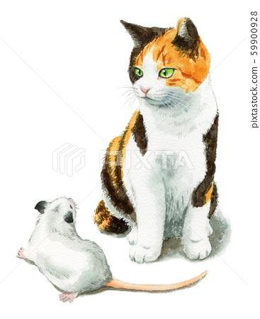 수채화로 그린 삼색 털 고양이와 흰쥐 59900928