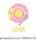 Herbal Lemon Tea View From Above Vector Illustration 59903478