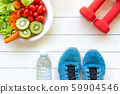 Fresh vegetable salad and healthy food for sport  59904546