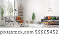 Interior design of modern living room with grey 59905452