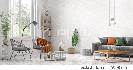 Interior design of modern living room with grey - Stock ...