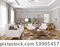 Interior design of modern living room 3d rendering 59905457