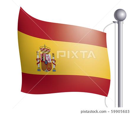 Illustrations and icons of the flag waving in the wind | Spain flag and flag | Left 59905683