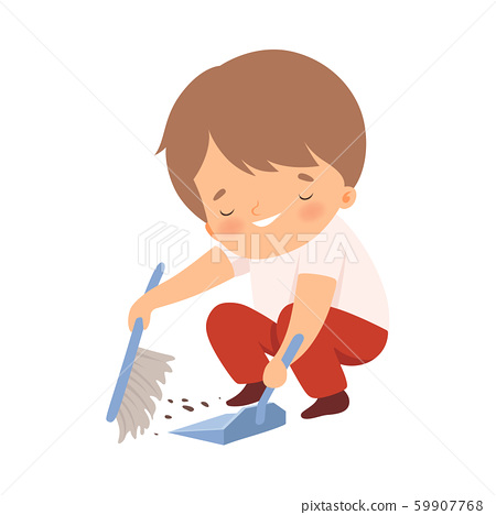 Little Boy Sweeping Floor with Brush on His Own Vector Illustration 59907768