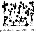 Cheerleaders with Pom Poms Silhouettes 59908193
