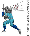 Rhino Baseball Player Mascot Swinging Bat at Ball 59908196