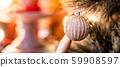 Silver Christmas ball on branch of Christmas tree 59908597
