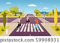 People walking on crosswalk, pedestrians crossing road at intersection 59908931
