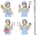各种妇女与清洁工具 59909146