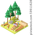 Vector isometric portable sawmill in forest 59911628