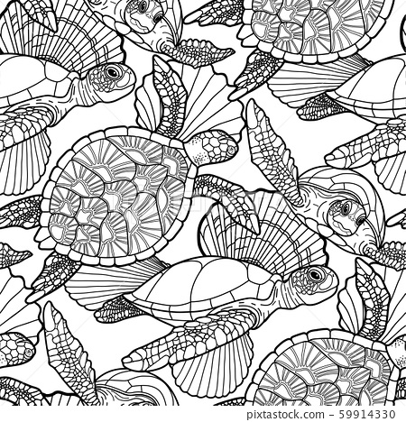 Seamless pattern of graphic swimming turtles in black and white colors. 59914330