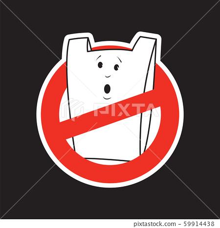 No plastic bags concept. Cartoon bag character 59914438