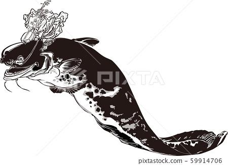 浮世繪和貓第1部分黑色和白色 59914706