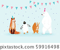 Set of winter animal. Happy wild animals in the party. 59916498