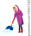 Woman removing snow flat illustration 59917182