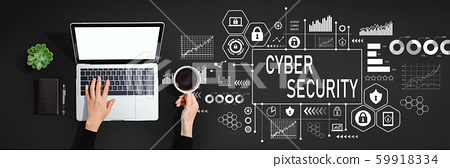 Cyber security theme with person using laptop computer 59918334