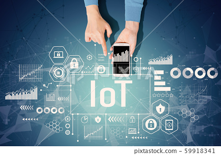 IoT theme with person using a smartphone 59918341
