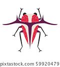 Weird Exotic Horn Bug Icon in Flat 59920479