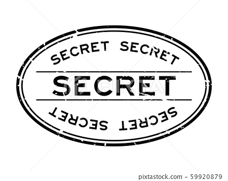 Grunge black secret word oval rubber seal stamp 59920879