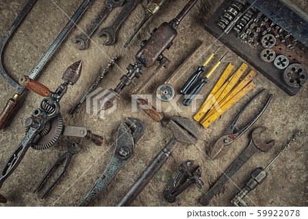 collection of old craft tools, still life with rusty tools, product photography for industry  59922078