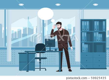 Bearded emotion man surprised in glasses and a suit looks at screen notebook, office table chair 59925435