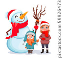 Happy children standing with snowman 59926473