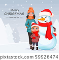 Happy mother and daughter standing with snowman 59926474