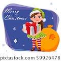 Cheerful girl in costume of elf holding gift box 59926478