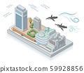 Ikebukuro Sunshine City and flying penguins. Isometric illustration 59928856