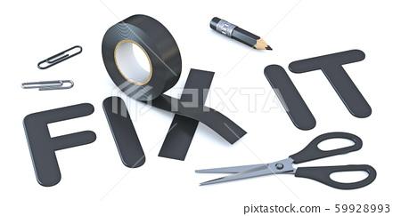 Slogan FIX IT with black duct tape 3D 59928993