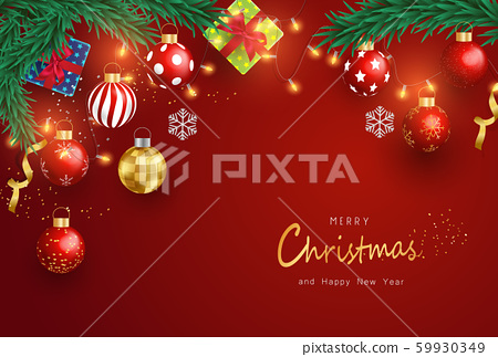 Merry Christmas and Happy New Year on Red background. Christmas Background With Typography and Elements. 59930349
