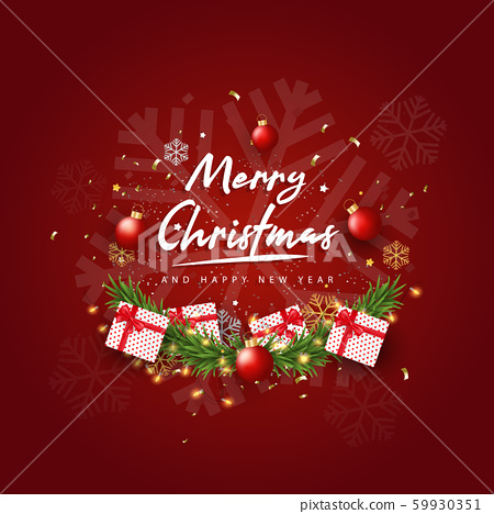 Merry Christmas and Happy New Year on Red background. Christmas Background With Typography and Elements. 59930351