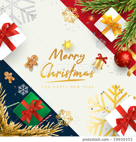 Merry Christmas and Happy New Year.Happy New Year design with realistic festive objects, Bells, garland, green and white gift boxes, ball bauble. 59930355