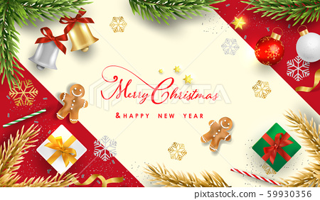 Merry Christmas and Happy New Year.Happy New Year design with realistic festive objects, Bells, garland, green and white gift boxes, ball bauble. 59930356