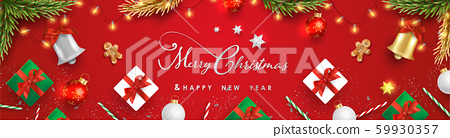 Merry Christmas and Happy New Year.Happy New Year design with realistic festive objects, light hanging, garland, green and white gift boxes, ball bauble.Horizontal banner design. 59930357