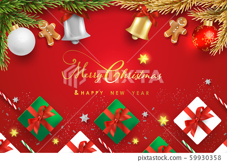 Merry Christmas and Happy New Year.Happy New Year design with realistic festive objects, Bells, garland, green and white gift boxes, ball bauble. 59930358