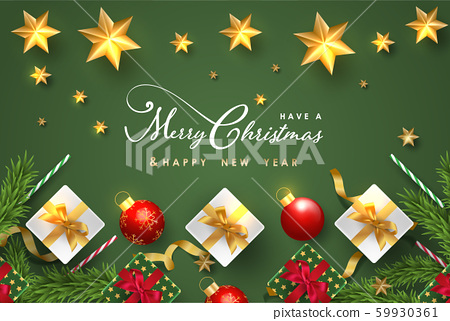 Merry Christmas and Happy New Year.Happy New Year design with realistic festive objects, light hanging, garland, green and white gift boxes, ball bauble. 59930361