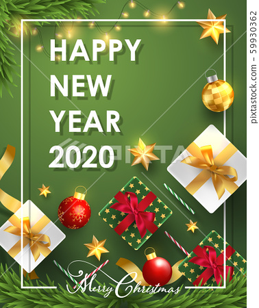 Merry Christmas and Happy New Year.Happy New Year design with realistic festive objects, light hanging, garland, green and white gift boxes, ball bauble. 59930362