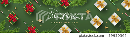 Merry Christmas and Happy New Year.Happy New Year design with realistic festive objects, light hanging, garland, green and white gift boxes, ball bauble. Horizontal banner design. 59930365