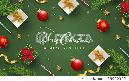 Merry Christmas and Happy New Year.Happy New Year design with realistic festive objects, light hanging, garland, green and white gift boxes, ball bauble. 59930366
