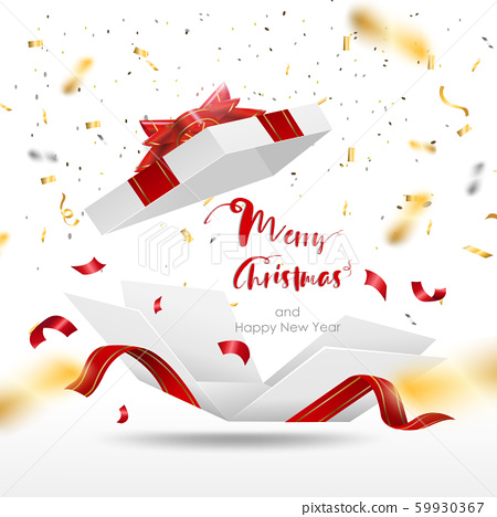 Surprise white gift box with red ribbon. Open gift box isolated. Merry Christmas and Happy New Year.	 59930367