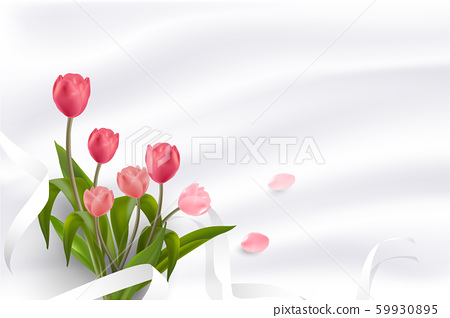 Beautiful Realistic Red and Pink Tulips flower placed on soft background with copy-space for lettering. Creative and Clean design in EPS10 vector illustration. 59930895